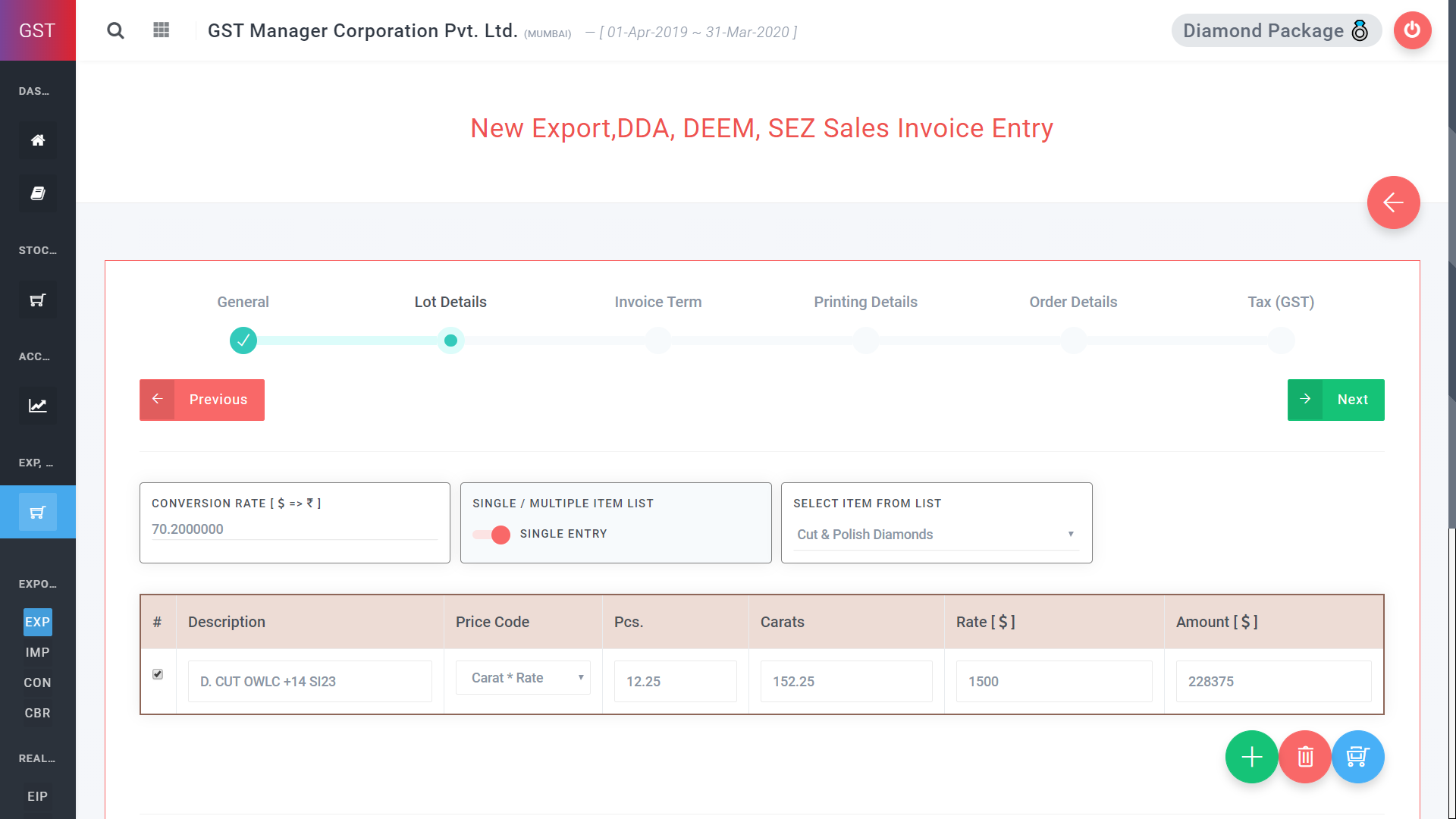 GST Manager Software Export local sale import deem sez dda Invoice E-Sanchit Compatible