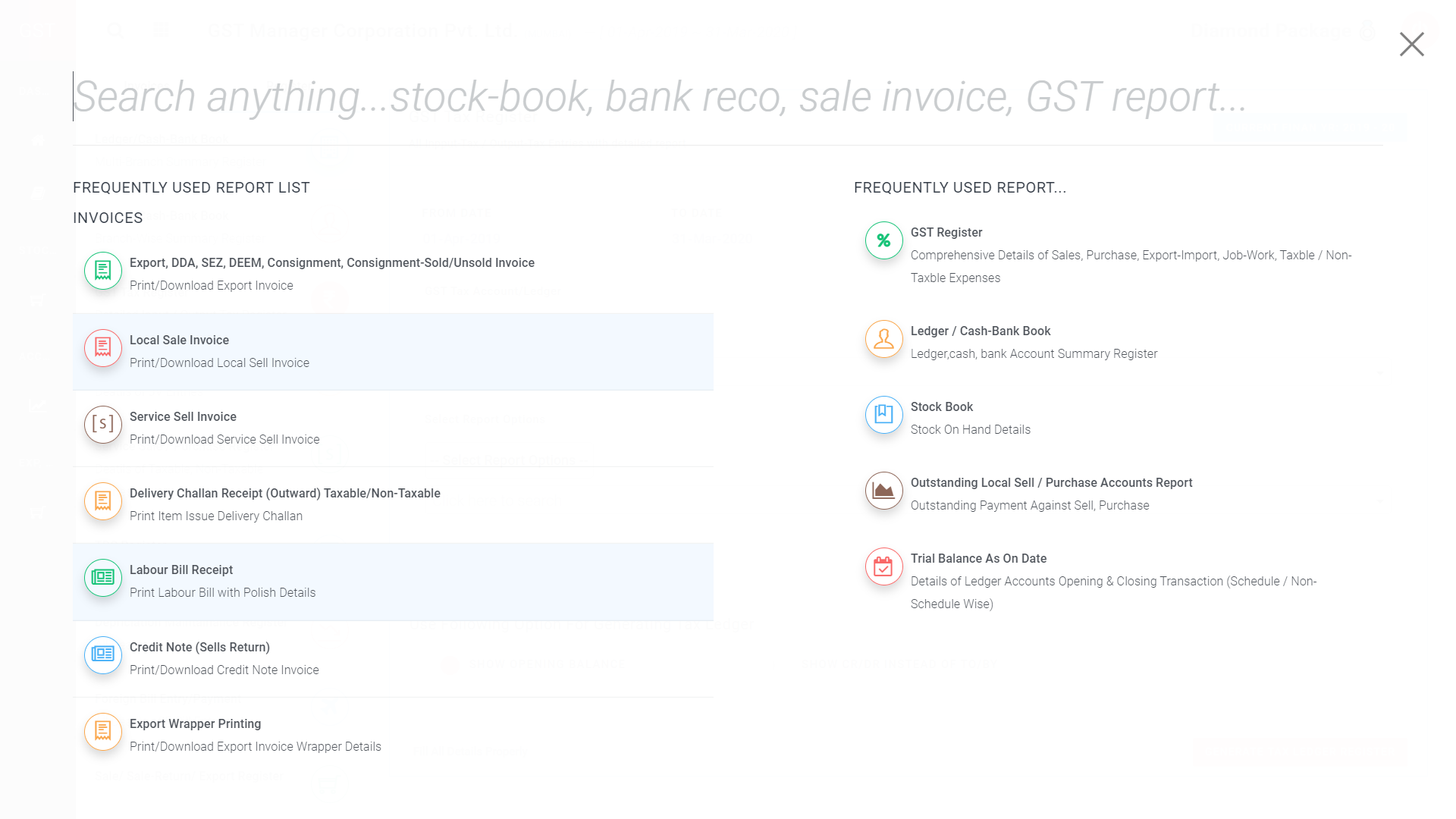 GST Manager Software Reporting Features